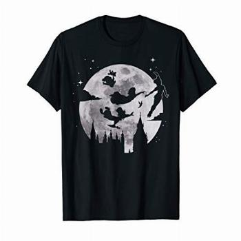 Disney Peter Pan Flying By The Moon Silhouette T-Shirt